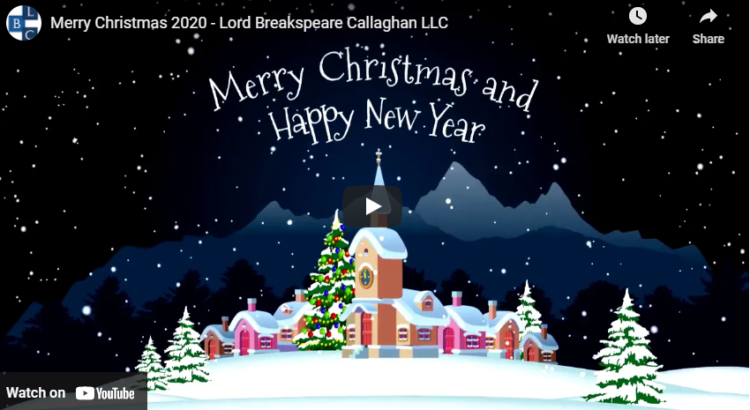 Merry Christmas and Happy New Year from Lord Breakspeare Callaghan LLC
